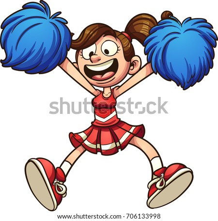 Happy cartoon cheerleader. Vector clip art illustration with simple gradients. All in a single layer.