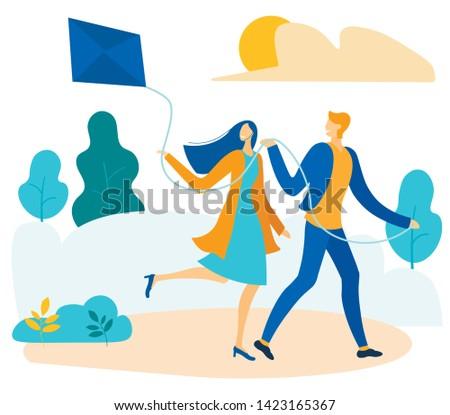 happy cartoon couple flying