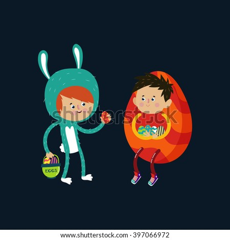 Happy  cartoon couple in suits Easter eggs. Happy easter cards with Easter eggs. Vector illustration.