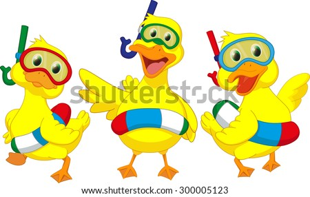 happy cartoon duck with buoys