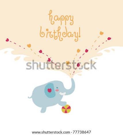 Happy cartoon elephant card.