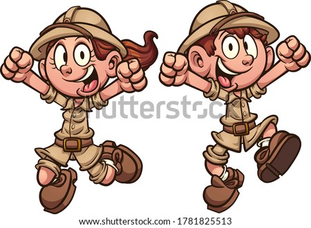 Happy cartoon explorer safari kids jumping. Vector clip art illustration with simple gradients. Each on a separate layer.