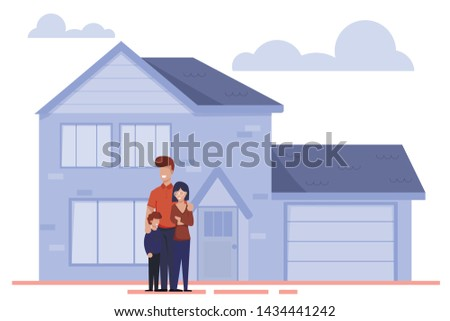 Happy Cartoon Family Characters Stand Outside near New Home. Parents and Child Moving to Rent or Buying House. Real Estate Property, Mortgage Loan. Vector Modern Residential Cottage Flat Illustration Photo stock ©