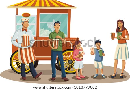 Happy cartoon family eating popcorn. Old fashion popcorn red cart.