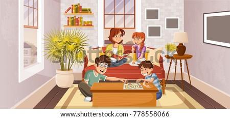 Happy cartoon family in the living room.