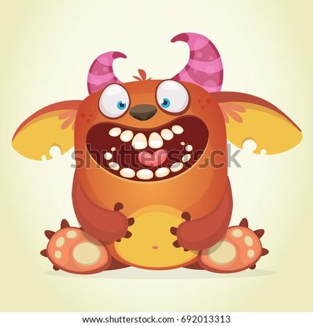 happy cartoon fluffy monster