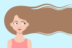 Happy cartoon girl with long flowing hair, smiling and thinking about hair care or trendy hairstyle. Healthy hair concept. Design for beauty or hairdressing salons and fashion industry, copy space