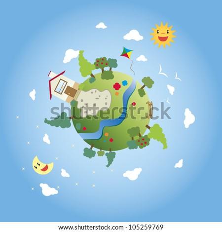 happy cartoon green earth - stock vector