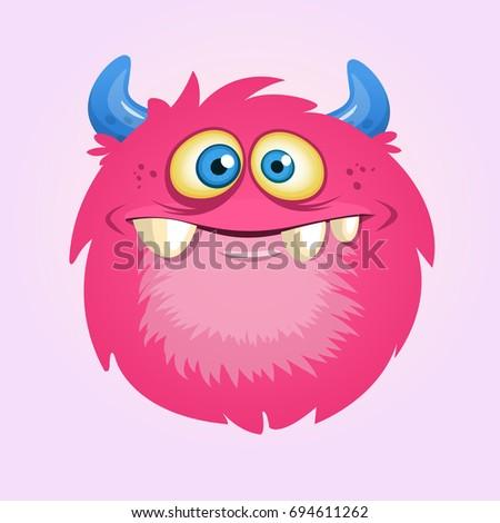 happy cartoon hairy monster