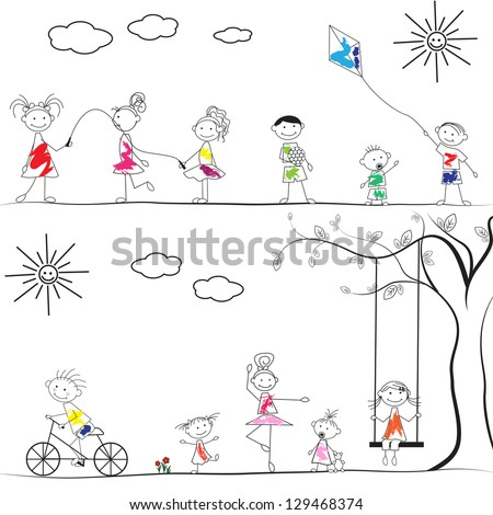 happy cartoon kids playing at