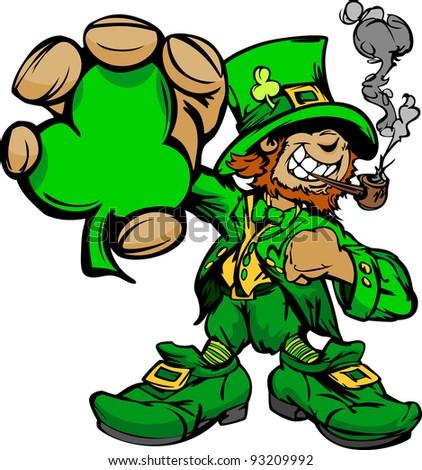 Happy Cartoon Leprechaun on St Patricks Day Holiday Vector Illustration