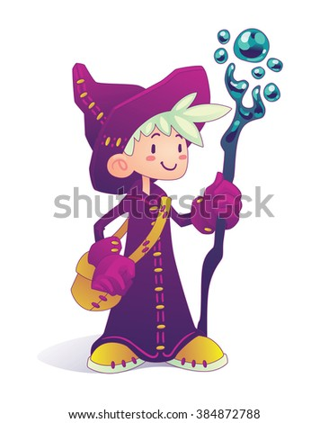 happy cartoon mage character