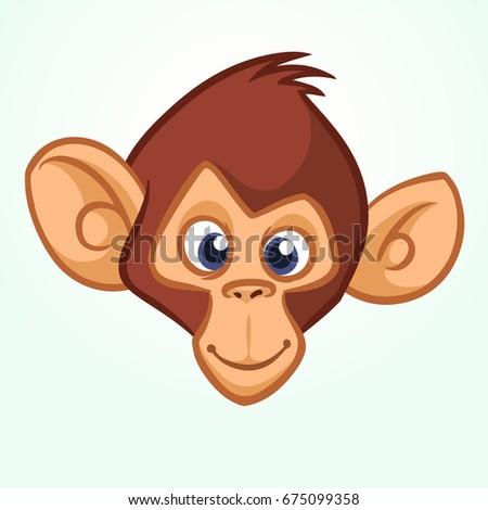 Happy cartoon monkey head. Vector icon of chimpanzee.  Design for sticker, icon, logo or emblem