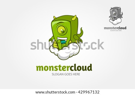 Stock Photo Happy cartoon monster in the cloud. Logo Vector illustration.