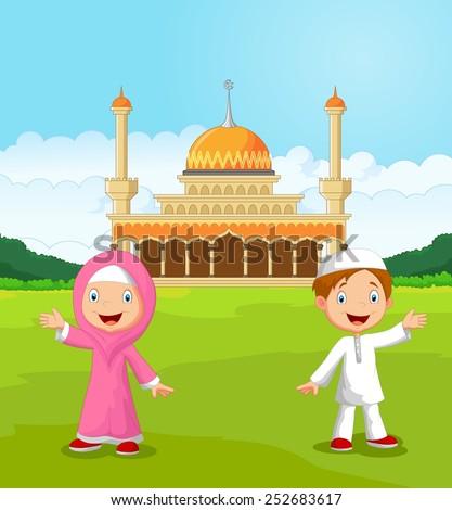 happy cartoon muslim kids