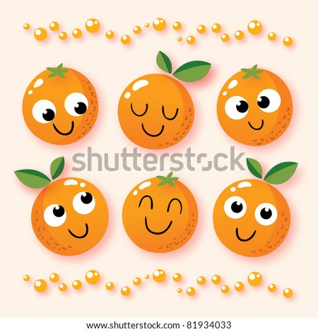 happy cartoon oranges