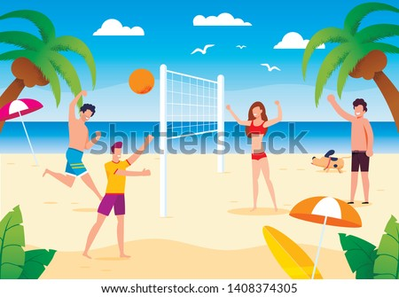Happy Cartoon People Playing Beach Volleyball on Sand. Dog Running near. Friends Having Fun. Summer Activities. Sport, Health and Leisure. Vacation on Tropical Island. Vector Flat Illustration