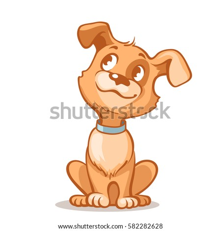 happy cartoon puppy sitting
