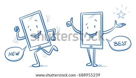 Happy cartoon smart phone mascot character running and showing thumb up. Hand drawn line art cartoon vector illustration.