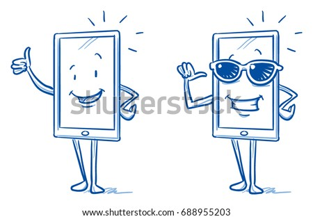 happy cartoon smart phone