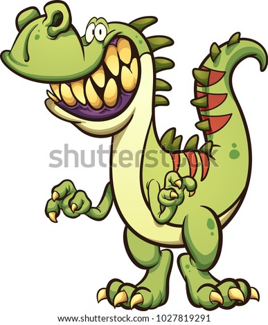 happy cartoon t rex dinosaur