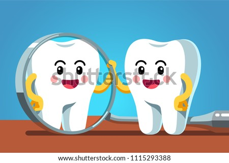 Happy cartoon tooth character looking in dental inspection mirror. Healthy tooth metaphor. Funny dental checkup motivational clipart. Children dentistry character. Flat vector isolated illustration