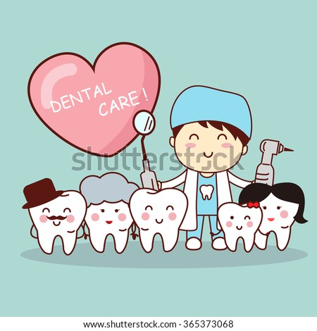 happy cartoon tooth family with