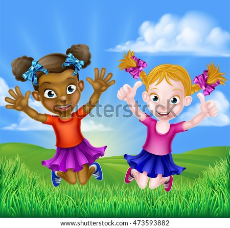 happy cartoon young girls  one