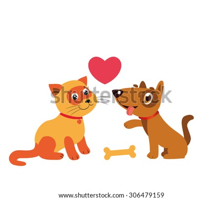 happy cat and dog friendship