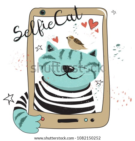 Happy Cat in a striped T-shirt makes a selfie, bird is sitting on his head. Funny doodle vector illustration for postcard, banner, wallpaper.