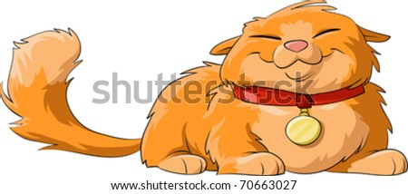 Happy cat on a white background, vector