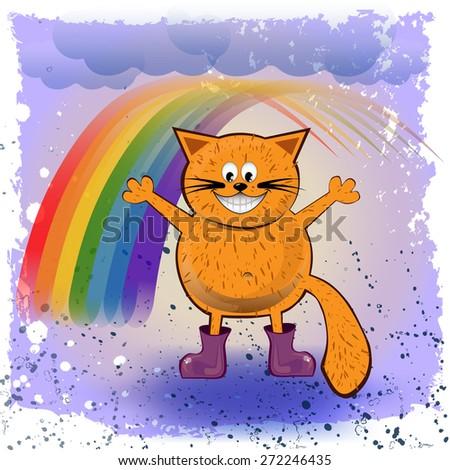 happy cat with a rainbow
