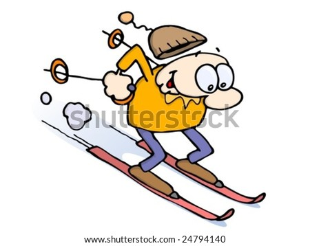 Happy Caucasian Guy Skiing Fast Downhill On Skis, Holding Poles Behind Him, His Cap Flying Off His Head