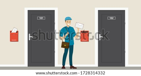 Happy caucasian postman hold letter. Closed doors and red mailboxes. Cartoon mailman in uniform. Entrance to apartments or house. Delivery service. Design in flat style. Vector illustration Stockfoto ©