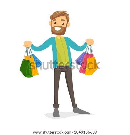 Happy caucasian white consumer carrying shopping bags. Young man holding a lot of shopping bags. Guy showing his purchases. Vector cartoon illustration isolated on white background. Square layout.