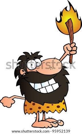Happy Caveman Holding Up A Torch. Vector illustration with simple gradients.Jpeg version also available
