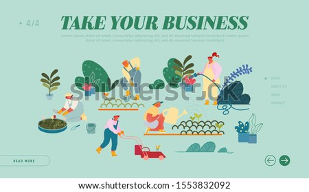 Happy Characters Working in Summer Garden Website Landing Page. Men and Women Farmers or Gardeners Planting and Caring of Trees and Plants. Gardening Web Page Banner. Cartoon Flat Vector Illustration