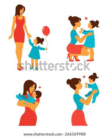 happy cheerful family vector