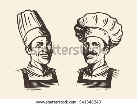 Happy chef in hat. Sketch vector illustration