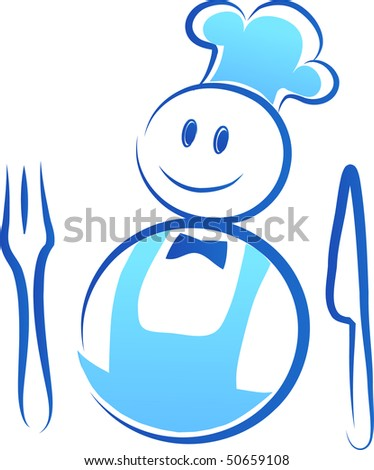 happy chef with fork and knife