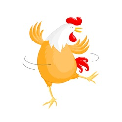 Happy chicken dancing. Rooster year character design, illustration isolated on white background.