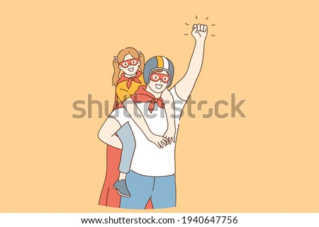 Happy childhood and parenthood, father and daughter concept. Smiling happy daughter girl and father in masks and coats pretending to be superheroes at home during playing game together illustration