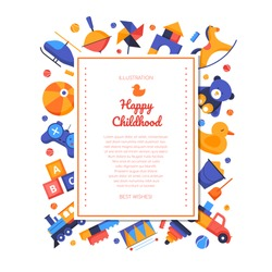 Happy childhood - vector flat design style banner on white background with copy space for text. Page with colorful toys, ball, gamepad, pyramid, train, abc block. Activities and leisure games for kids