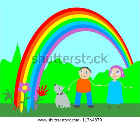 stock-vector-happy-children-and-dog-are-looking-at-the-rainbow-11764870.jpg
