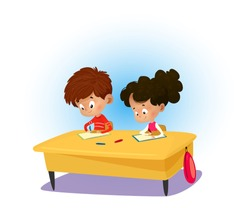 Happy children and students sitting at desk and learn classwork. Study kids concept. Vector illustration for website, advertisement, poster