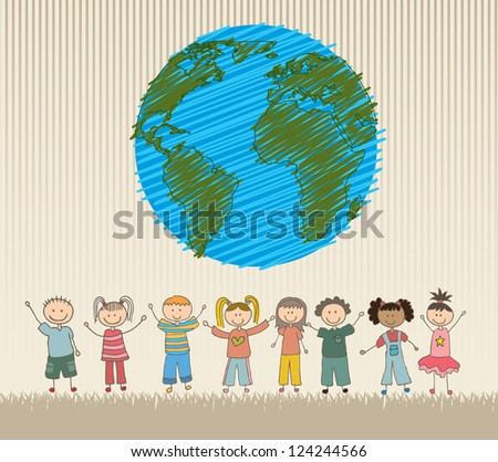 happy children around the world vector illustration
