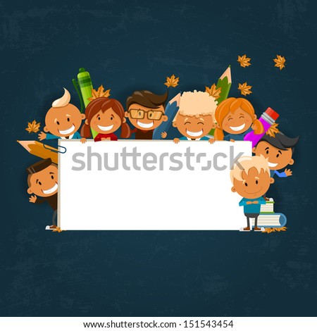 Happy children. Back to school theme. Vector illustration  #151543454