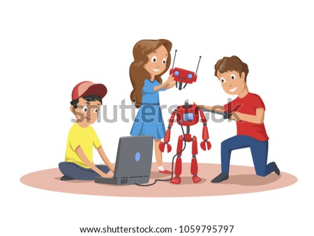 Happy children creating and programming a robot. Children's club of robotics. Cartoon vector illustration, isolated on white background.