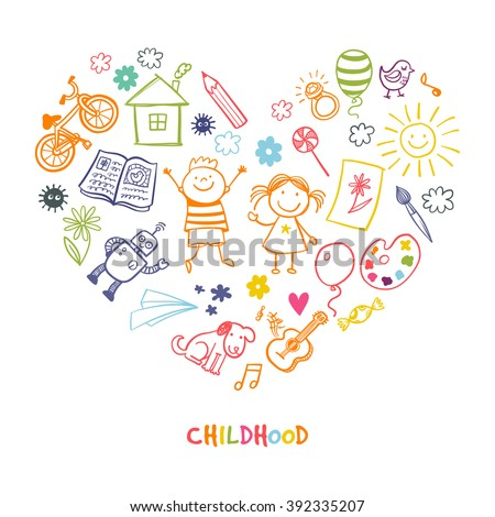 Happy children drawing vector doodle heart