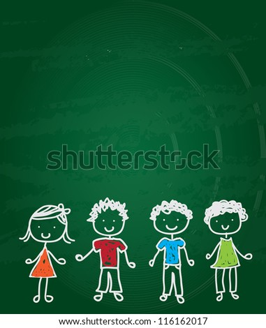 happy children drawn on a green board vector illustration